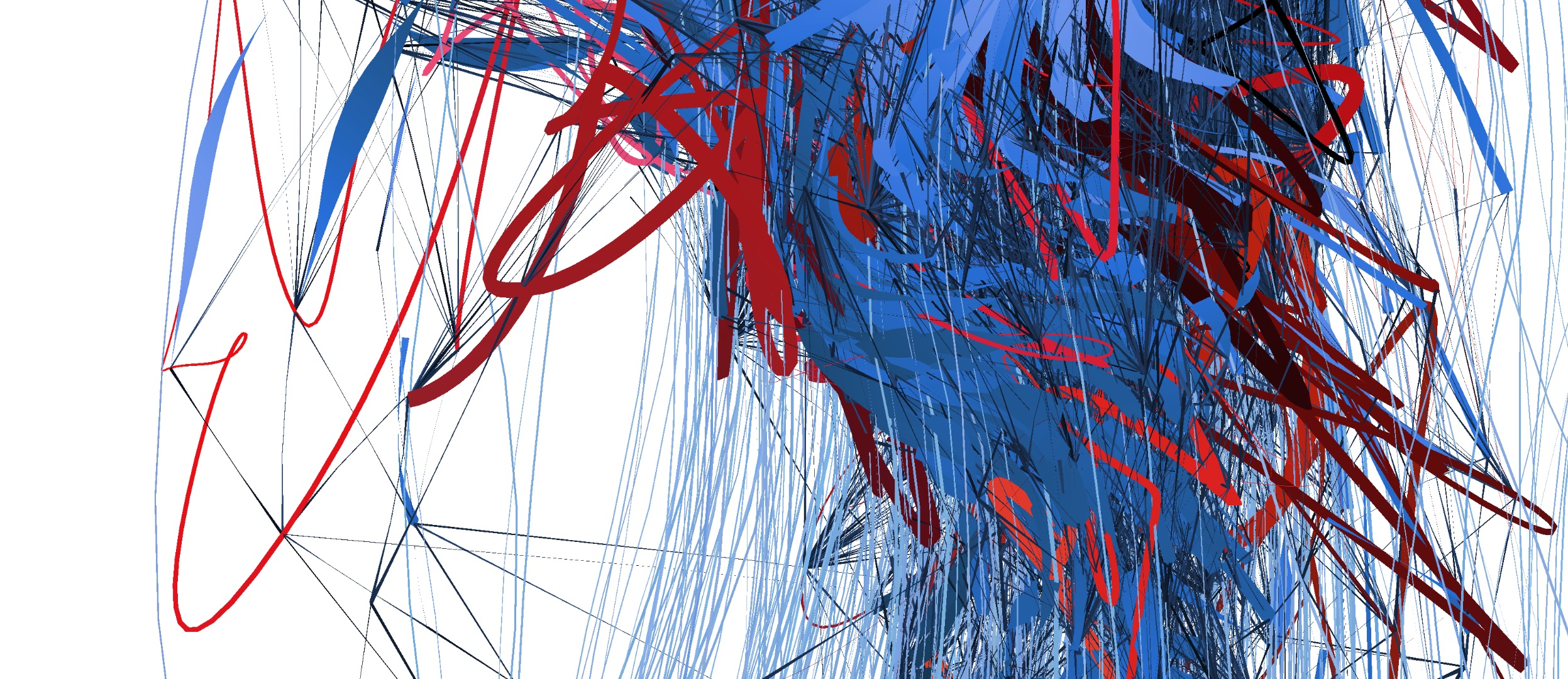 A detail of Facebook's graph in Unwelcome Gaze. Thin darker lines represent the actual routing graph, while thicker ones (blue and red) are painted layers of perception obscuring the actual data.