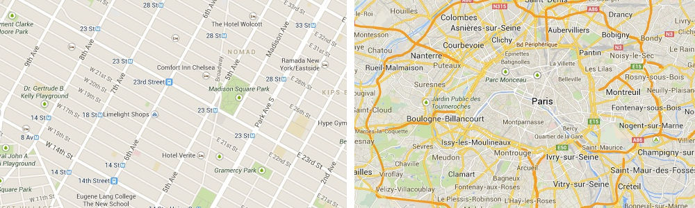 Manhattan and Paris – typical examples of the two types of topologies.